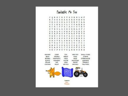 Wordsearch puzzles x 12 for Roald Dahl stories - 10 and 30-words