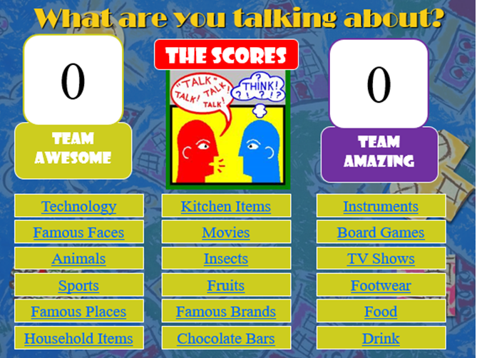 What are you talking about? A fun and interactive speaking and listening game!