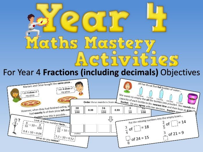 Fractions (including Decimals) Mastery Activities – Year 4