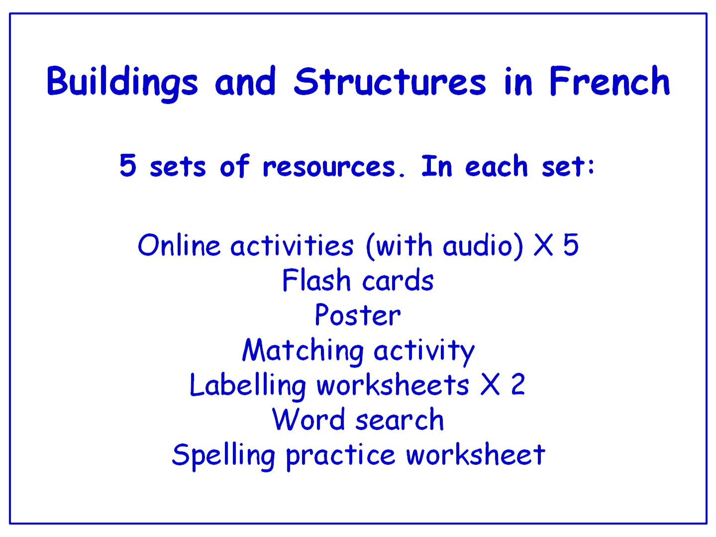 Buildings and Structures in French  Worksheets, Games, Activities and Flash Cards (with audio) Bundle (5 sets)