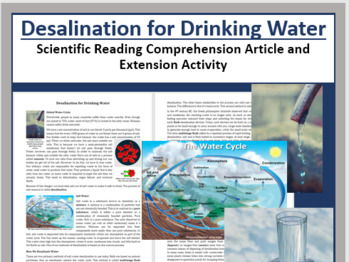 Desalination for Drinking Water Comprehension Reading KS3 and KS4