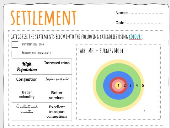 Settlement Worksheets - Differentiated