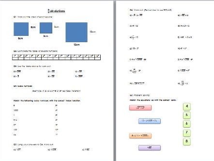 Calculations (Squares, cubes & BIDMAS) Worksheet with Solutions - Edexcel KS3/KS4