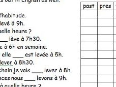 French worksheet about reflexive verbs with daily routine