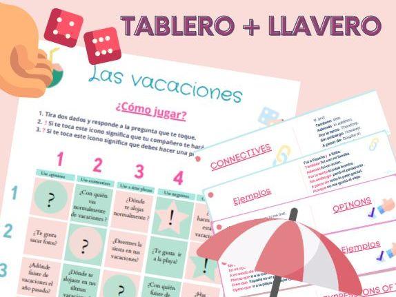 Tablero + Llavero Las Vacaciones ( GCSE speaking practice)