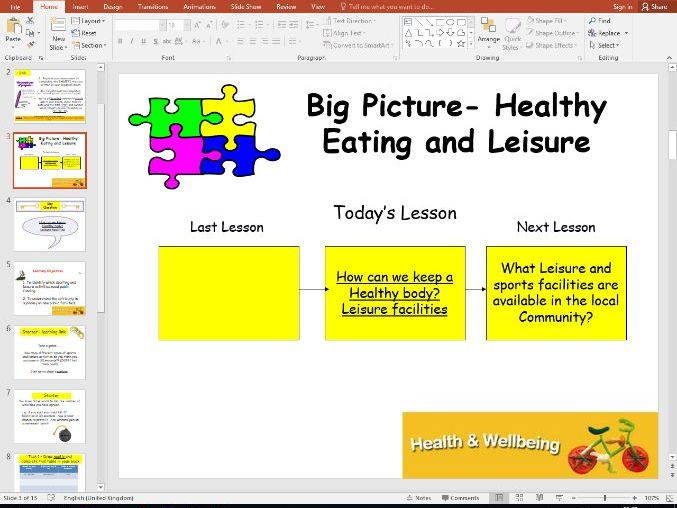 Health and Wellbeing - Healthy eating (2 lessons)