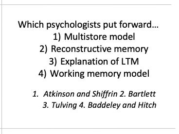 Edexcel A Level Psychology Cognitive Psychology revision quiz cards