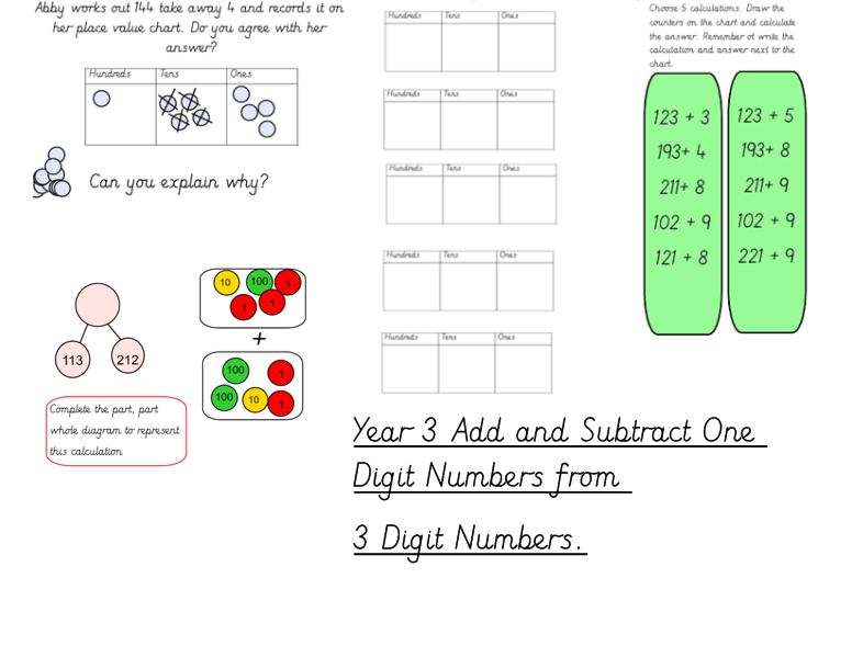 Year 3 Addition and Subtraction 1 Digit and 3 Digit Numbers