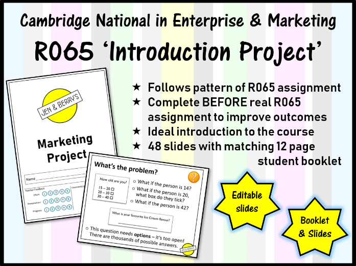 R065 'Practice' Introduction Project (Cambridge National in Enterprise and Marketing)