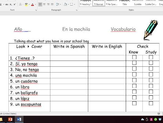 KS3 School equipment - En mi mochila lessons 1 and 2