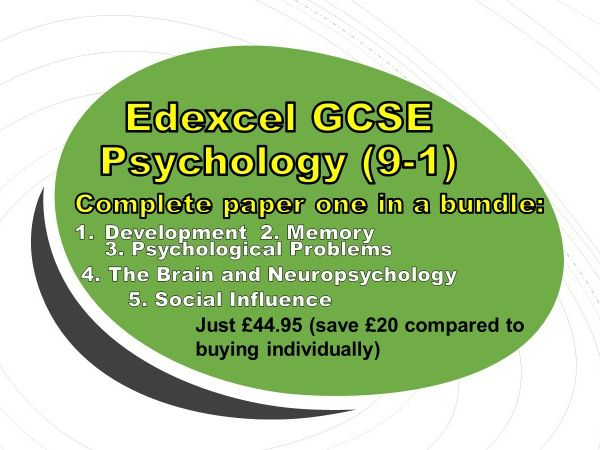 Edexcel GCSE Psychology (9-1): Paper One, Bundle covering all five topics