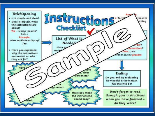 Instruction Genre Checklist Mat