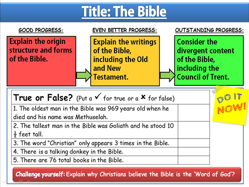 The Bible: Lesson 1 -  Sources of Wisdom and Authority
