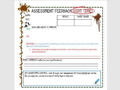 DIRT TIME assessment feedback worksheet
