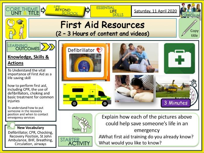 First Aid Resources (2-3 Hours) PSHE