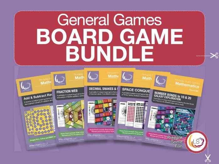 Multiples, Add & Subtract, Decimals, Fractions and Number Bonds Board Game Bundle