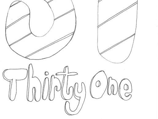 Thirty One: Numbers (with word): Colouring Page