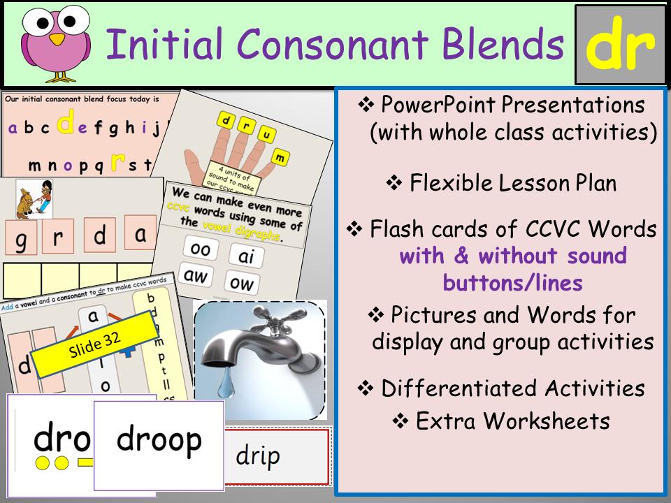 Phonics Initial Consonant Blend Dr Ccvc Words