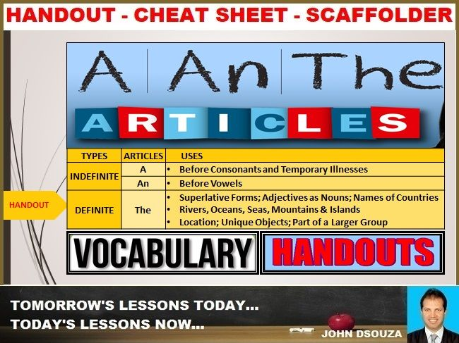 ARTICLES/DETERMINERS: HANDOUTS