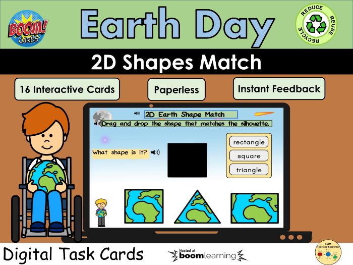 2D Shapes Earth Day Match Silhouettes Visual Perception BOOM Cards™ Distance Home Learning