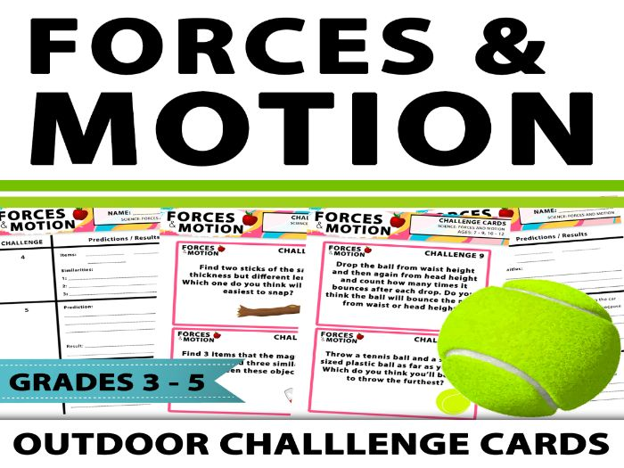 Forces And Motion Outdoor Challenge Cards
