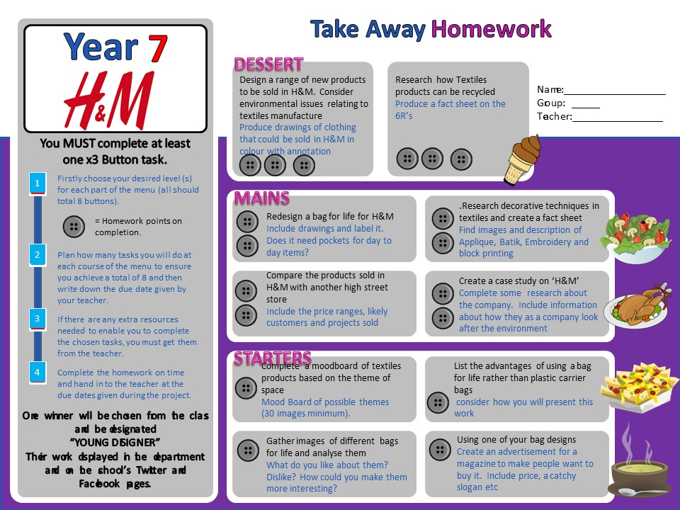 Differentiated homework sheet - KS3 TEXTILES