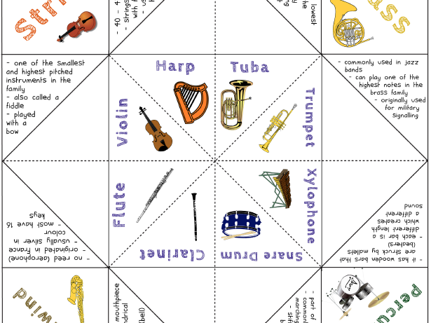 Instrument Families Foldable Activity