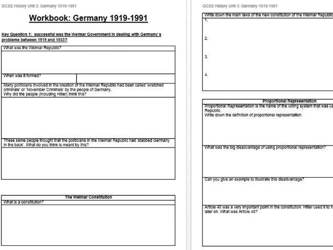 Eduqas GCSE History - Germany 1991 -1991 COMPLETE TOPIC WORK BOOKLET