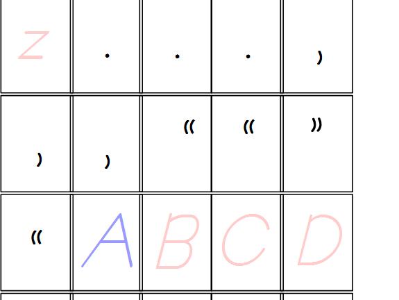 Pink & Blue D'Nealian Alphabet