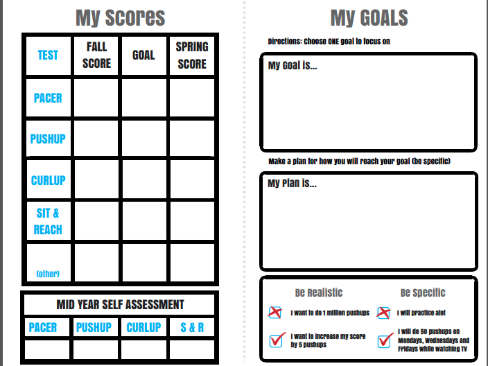 Fitnessgram Goal Setting Guide |PE Fitness Testing Supplement|