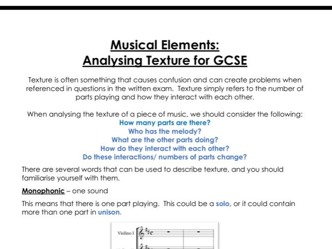 Analysing texture for GCSE Music