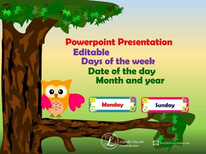 Days of the week (Editable PowerPoint Presentation)