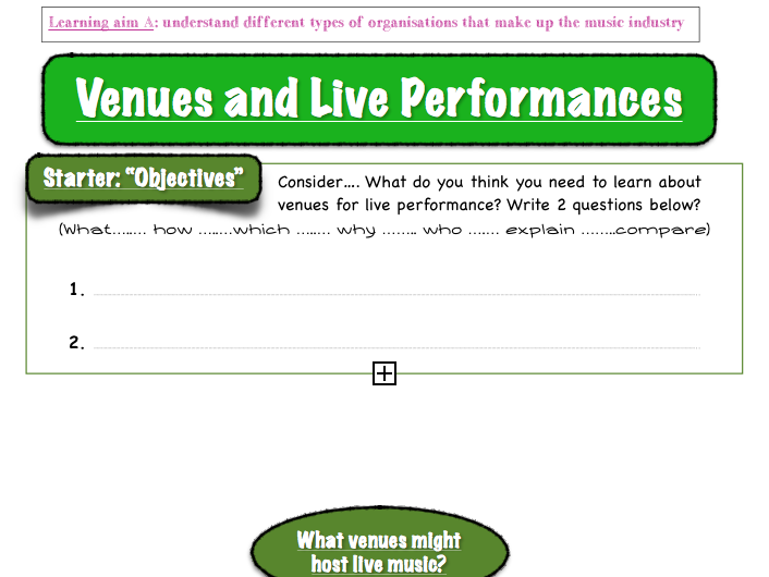 """BTEC Music Unit 1 - 'The Music Industry': """"Venues & Venue health and safety"""""""