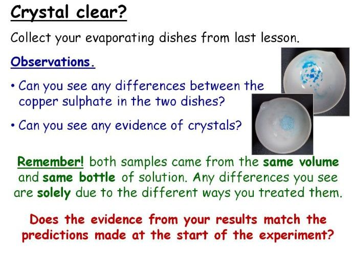 Investigating Crystallisation Year 9 Lesson PowerPoint (KS3 9Ea) Making Materials Copper Sulphate