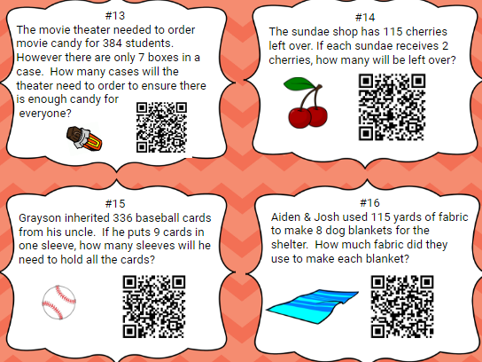 Full Version (24 Task Cards)  1 Digit Divisor with QR Codes & Work
