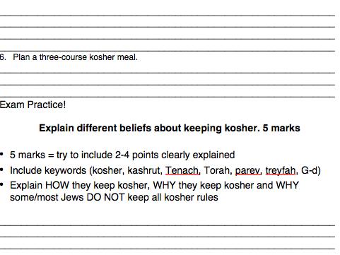 Eduqas RS GCSE New Spec. Judaism Practices Contingency Sheet Tenach, Talmud and Kashrut