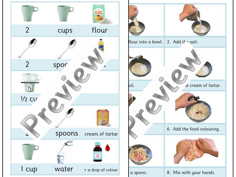 Visual  Playdough Recipe and Ingredients