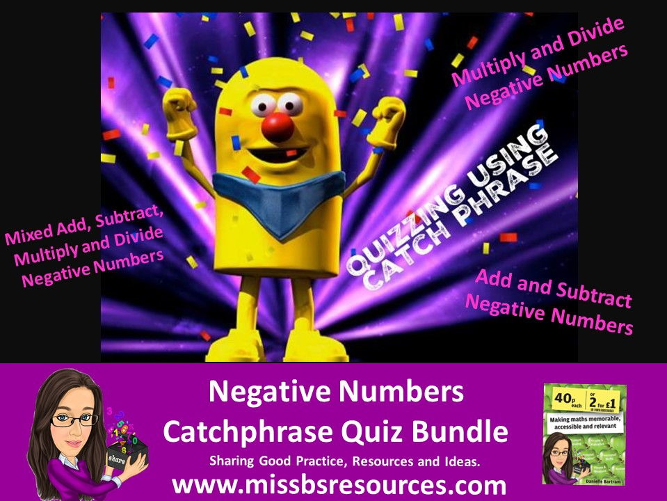 Catchphrase - Negative Numbers Quiz Bundle