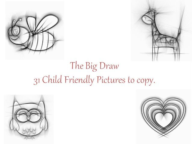Big Draw 31 Child Friendly Pictures to copy+ Drawing Figures + Kids Examples of Waterpainting Skills