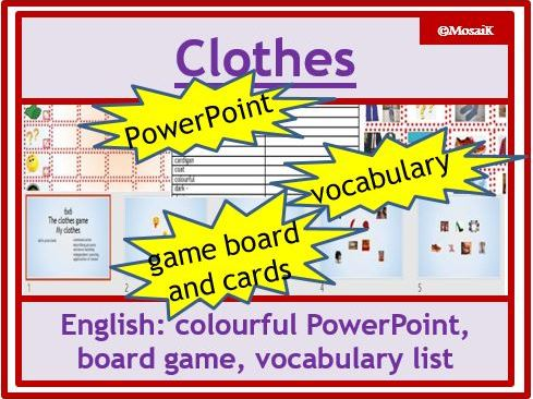 ESL EAL English - clothes: dice game to describe pictures and practise speaking