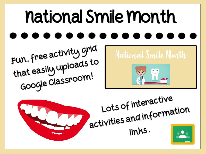 National Smile Month Activity Grid