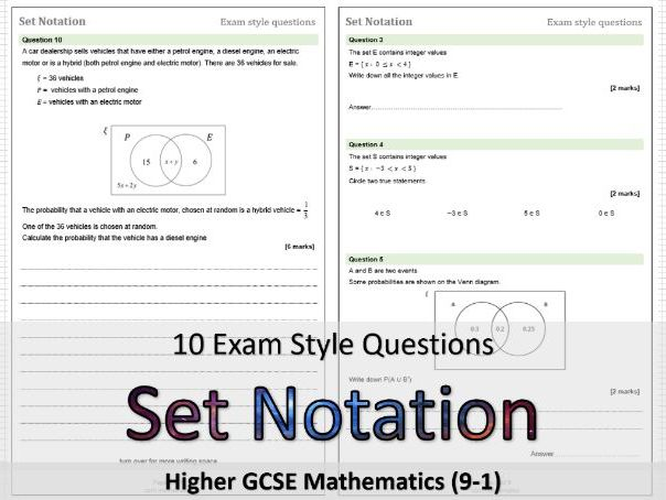 Set Notation GCSE Maths: Exam style questions & solutions