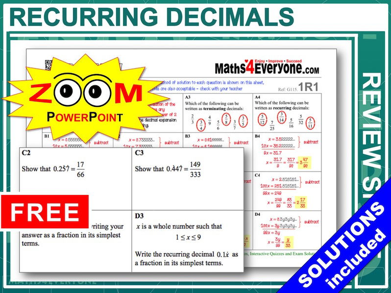 GCSE Revision (Recurring Decimals)