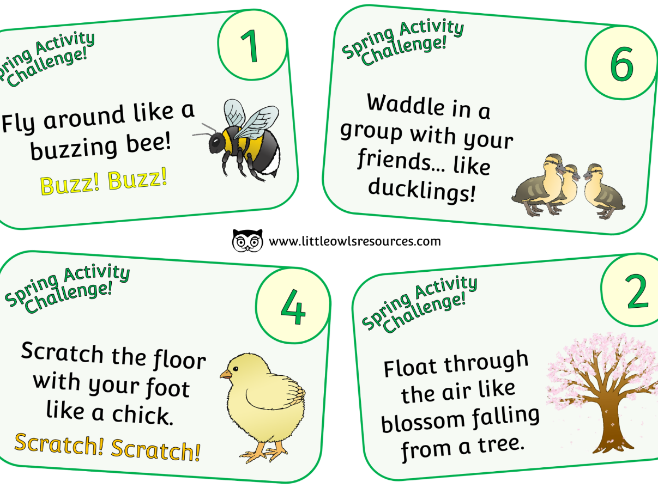 Spring Movement/Activity Challenge Cards