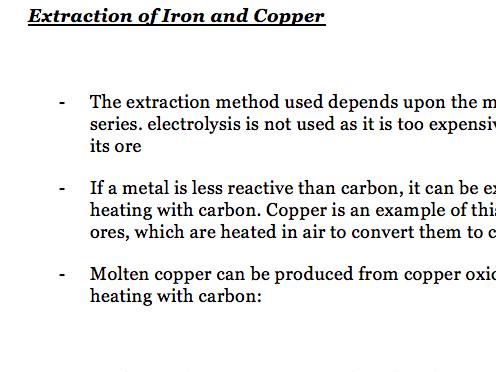 Reactivity+Electrolysis of Aluminium Oxide - Notes Chemistry AQA Combined Science GCSE
