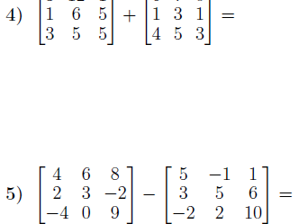 Adding and subtracting matrices  worksheet (with solutions)