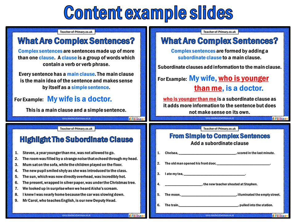 The Subordinate Clause Powerpoint With Worksheets By