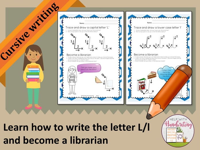 Learn how to write the letter L (Cursive style) and become a librarian