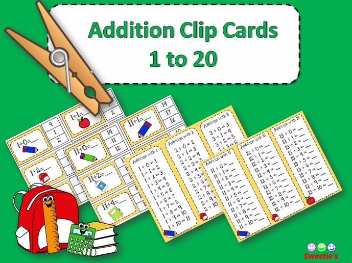 Addition Facts 1 to 20 Clip Cards - Classroom Supplies