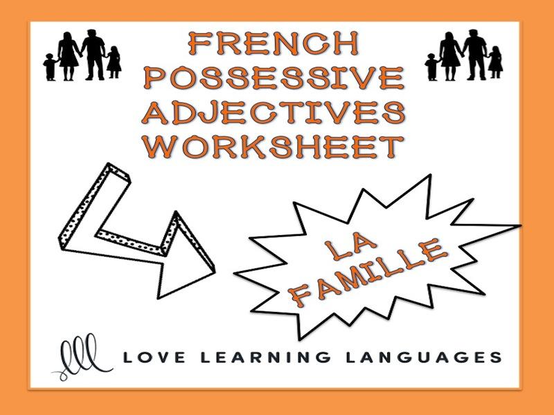 GCSE FRENCH: French possessive adjectives worksheet - La famille - Adjectifs possessifs